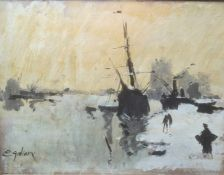 Attributed toEugéne Galien-Laloue (1854-1941) Oil on board Ships in dockland/harbourside Signed
