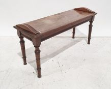 Late 19th/early 20th century mahogany window seaton turned and ring supports, 90.5cm wide