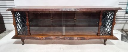 20th century pine low display case, the top with a natural edge finish and inlaid with masonic