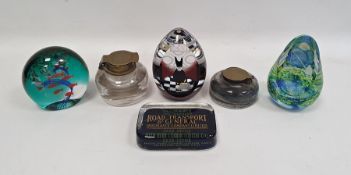 Two Victorian glass inkwellswith brass hinged lids, a Caithness glass paperweight'Ocean Shoal',