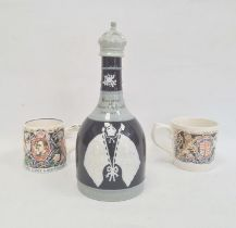 Copeland late Spode coronation decanter 1911 in shades of blue, aMyott & Son Laura Knight George VI