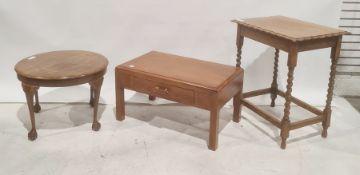 Low coffee table, an oak side tableand a circular walnut coffee tableon claw and ball feet (3)