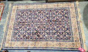 Blue ground Kashmiri allover design rug, 170cm x 118cm