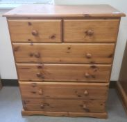 20th century pine chest of two short over four long drawers, 80cm x 96cm