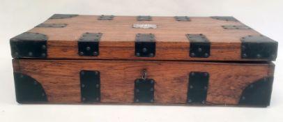 Oak and iron bound box, 52.5cm x 13cm