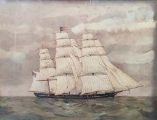 19th century school Watercolour Clipper ship at sea, unsigned,38cm x 49.5cm