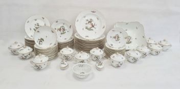 Herend Rothschild Birds pattern part dinner service, 20th century, printed blue marks, impressed