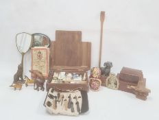 Quantity of wooden animals, wooden trinket  boxes, artist's materials and other collectables