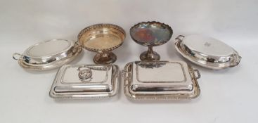 Quantity of silver plate including entree dishes and covers, comports, mugs, etc.