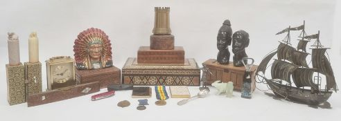 Quantity boxes including Anglo-Indian, compact metal model boat and other items