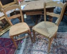 Set of six beech framed rush seated chairs with stretchered bases (6)