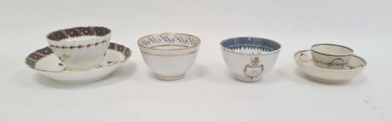Collection of English pottery and porcelainand a Chinese export armorial tea bowl, late 18th to