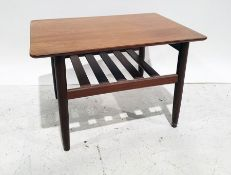 G-Plan teak coffee table, rectangular top with rounded corners, magazine rack under, on circular