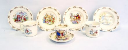 Collection of Royal Doulton Bunnykins nurseryware comprising two mugs, a tea cup and saucer, four