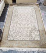 Modern cream ground rug with leaf decoration, gold borders, 280cm x 202cm Condition ReportPicture of