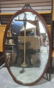 19th century oval wall mirror, bevelled edge, mahogany frame, 106cm x 64cm