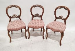 Set of three 19th century bedroom chairswith carved backs to cabriole front legs (3)