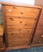 20th century narrow pine chestof five drawers, on ogee bracket feet, 64cm x 109.5cm Condition