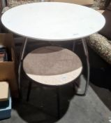 20th century circular coffee tablewith faux bird's eye maple formica top, on black painted circular