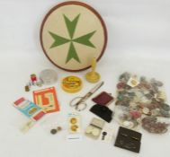 Quantity vintage buttons, darning mushroom and a reproduction needlepoint covered circular stool