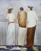 "Liz Duff (20th century) Oil on canvas ""On the Bridge"", 50cm x 40cm"