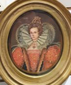 20th century school Oil on panel Oval half length portrait of Elizabeth I Unsigned 24cm x 20cm