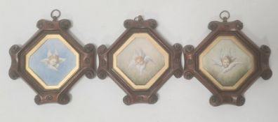 ARB after Joshua Reynolds Trio of miniature watercolours Three cherubs, dated 1881 5.5 x 6cm