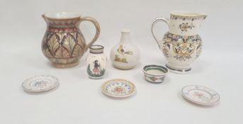 Gubbio majolica lustre jug, 15cm high, a French (Montreuil-sur-Mer) pottery jug, a Quimper vase, a