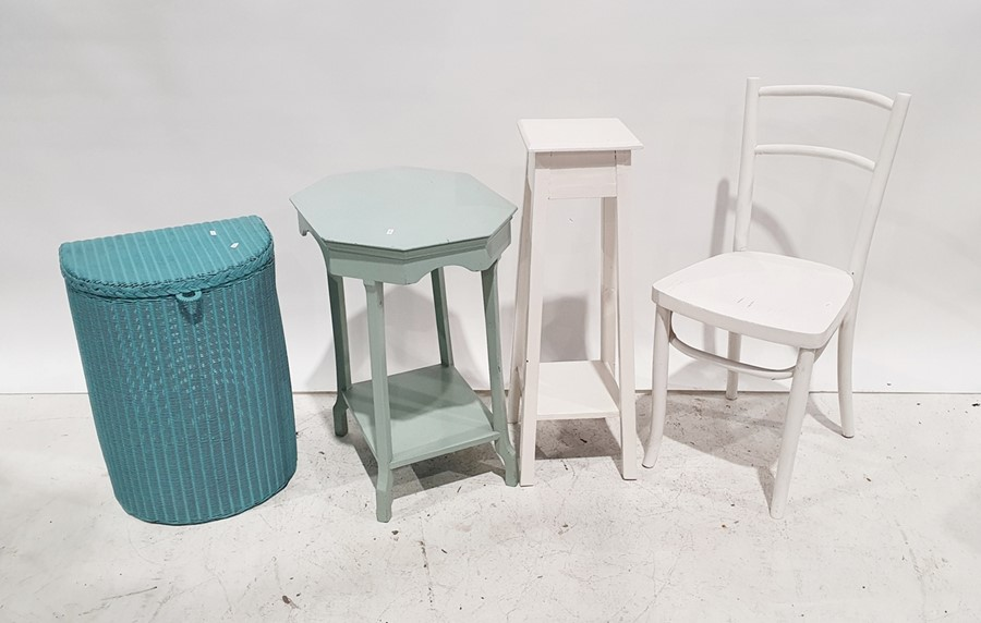 Loom linen basket, a white painted chair, a painted two-tier tableand a painted aspidistra stand(