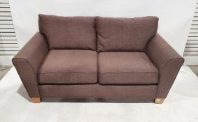 Pair of brown two-seater modern sofasCondition ReportBoth in very good condition with minimal