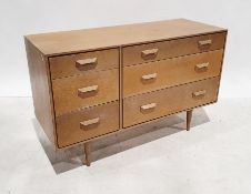 Two mid century bedroom chests of drawers, possibly G-Plan, one of three drawers, the other of three