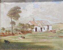 John J Bennett (early 20th century) Oil on canvas 'Graig Farm' Marked to reverse Signed lower left