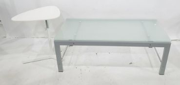 Modern coffee table of rectangular design with central perspex panel, in brushed polished metal