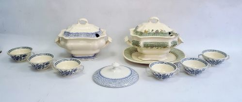 Large Masons two-handled soup tureen and coverwith blue border, a set of six two-handled soup bowls