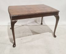 Reproduction walnut rectangular dining table with moulded and carved edge, cabriole legs, 114cm x