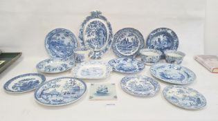 Collection of Staffordshire blue and white pottery, 19th century, variously transfer printed in