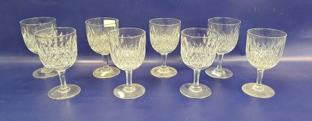 Set of eight Webb cut glass goblets, slice and cross-cut diamond patterned, six punch glasses, an