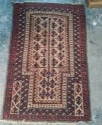 Pair of second half of the 19th century Baluch prayer rugs, Herat, Afghanistan 130 x 87 cm (2)