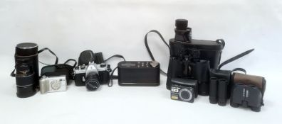 Pentax Asahi Spotmatic camera, a Sony Cybershot small camera, various other cameras, binoculars, etc