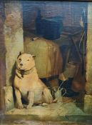 ********* WITHDRAWN ********** Continental school (20th century) Oil on board Dog in stable doorway,