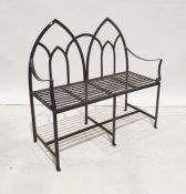Iron strapwork two-seat benchwith twin arch back Condition ReportLength 106.5cm Width (including