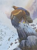 """F S Begg (20th century) Watercolour drawing """"The Eagle Winter Landscape"""", signed lower left, 37cm x"""