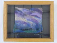 Beverley Fry (20th century) Abstract Picture in felt, signed lower right on the mount, 26 x 34cm