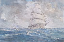 English school (19th/early 20th century) Oil on canvas Ship in full sail and a funnel tug boat at