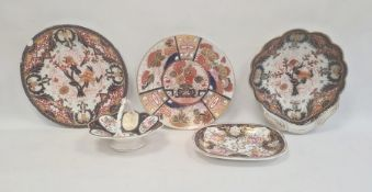 Group of English porcelain, circa 1820, comprising a Chamberlains Worcester Imari pattern plate,