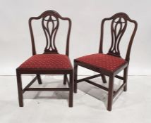 Set of six 20th century reproduction Hepplewhite-style mahogany-framed dining chairsand two further