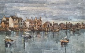 F. J. Dempsey (20th century) Oil on canvas Coastal harbour Signed lower right 64cm x 100cm