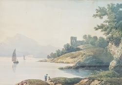 John Varley (1778-1842) Watercolour Lakeside landscape with two figures in foreground, signed