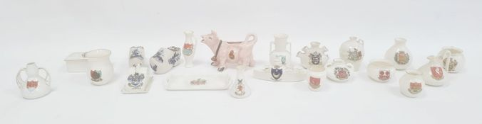 Collection of Goss crested china and other crested wareto include a model of a boat, miniature