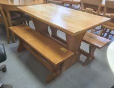 Pine trestle tableand two benches(3)